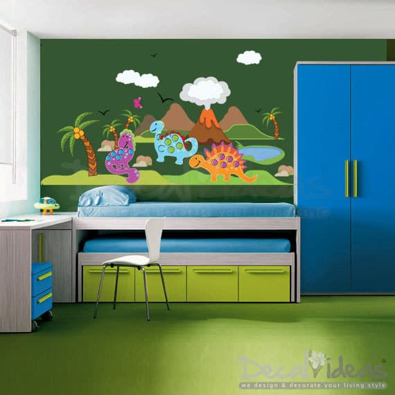 Dinosaur wall sticker scene