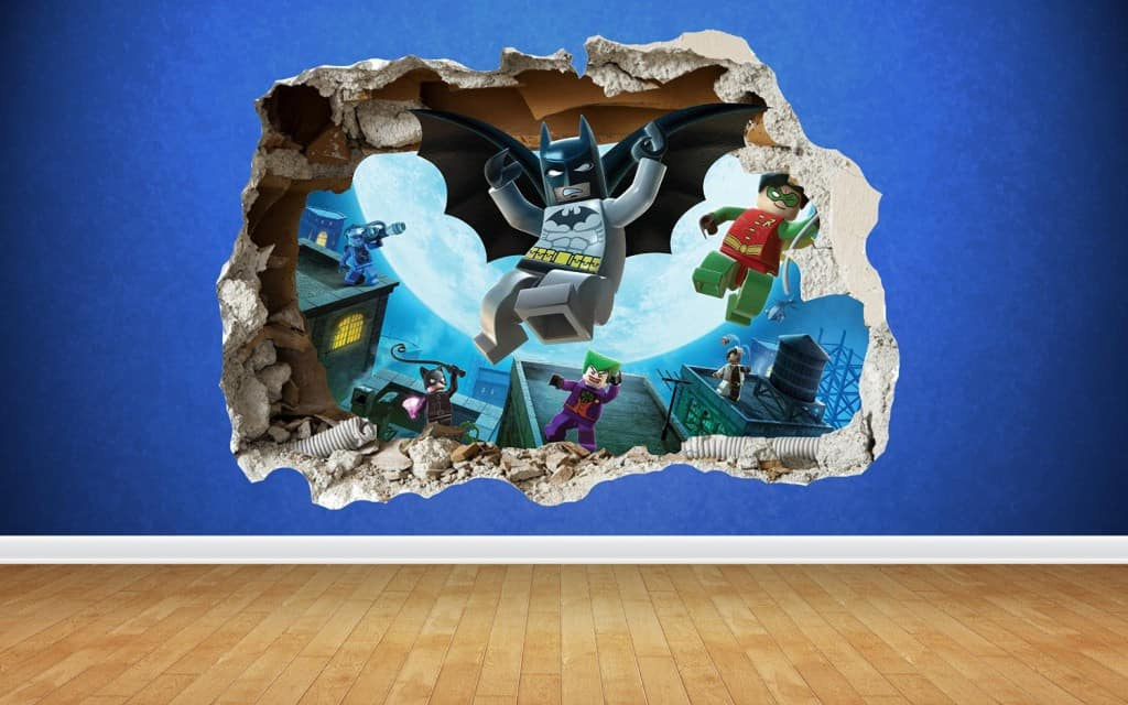 Cracked Wall Effect Lego Batman Wall Sticker