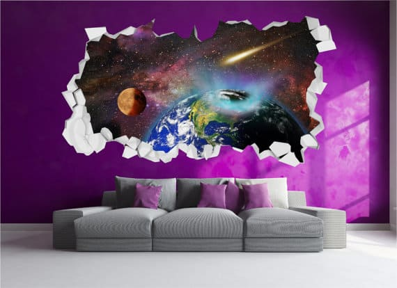 cracked wall universe wall sticker