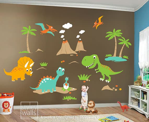 large dinosaur wall sticker scene