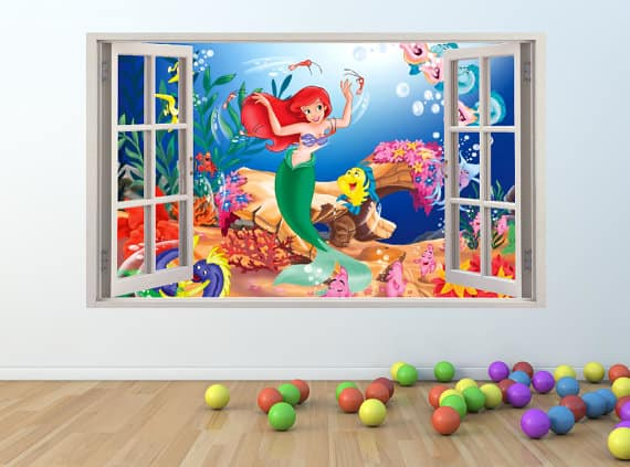 little mermaid window wall sticker