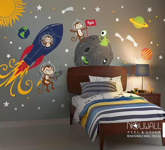 monkey alien space wall stickers
