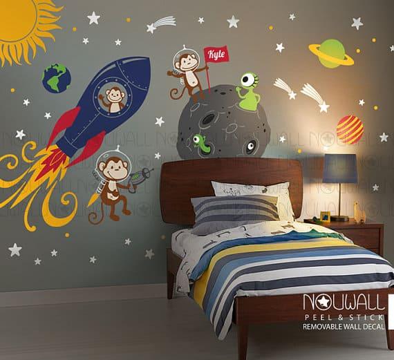 monkey alien space wall stickers