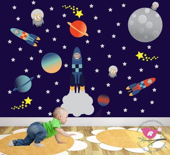 nursery space wall sticker