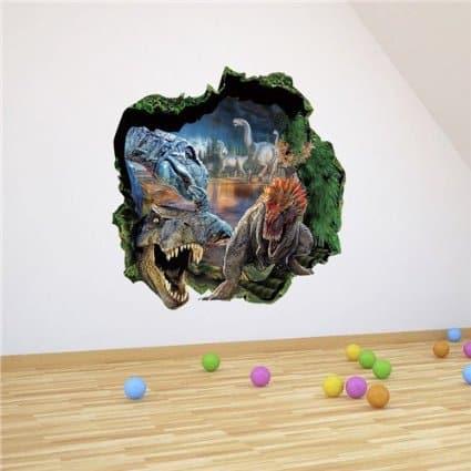 scary 3d dinosaur wall sticker