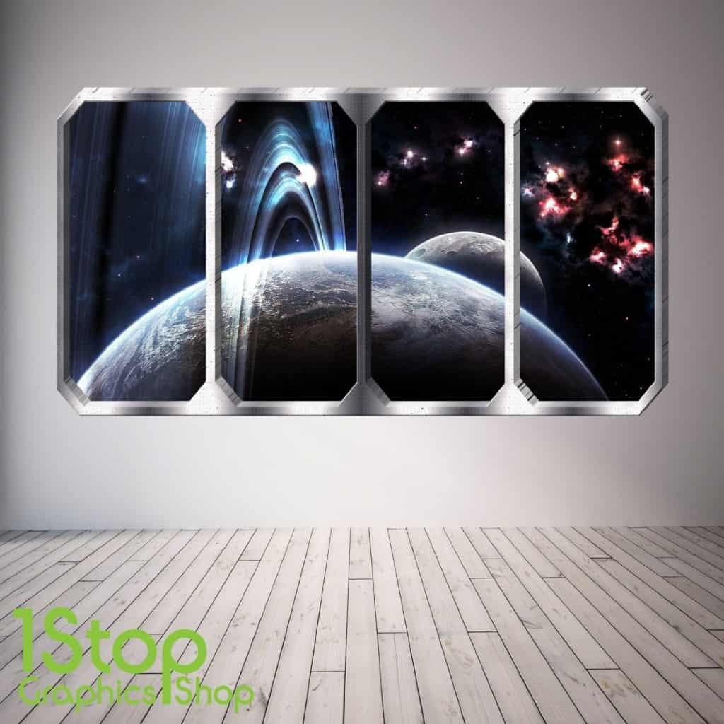 spaceship window wall sticker