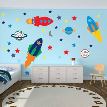 spaceships wall sticker