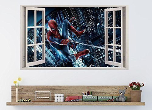 Window Effect 3D Spiderman Wall Sticker. Spiderman 5