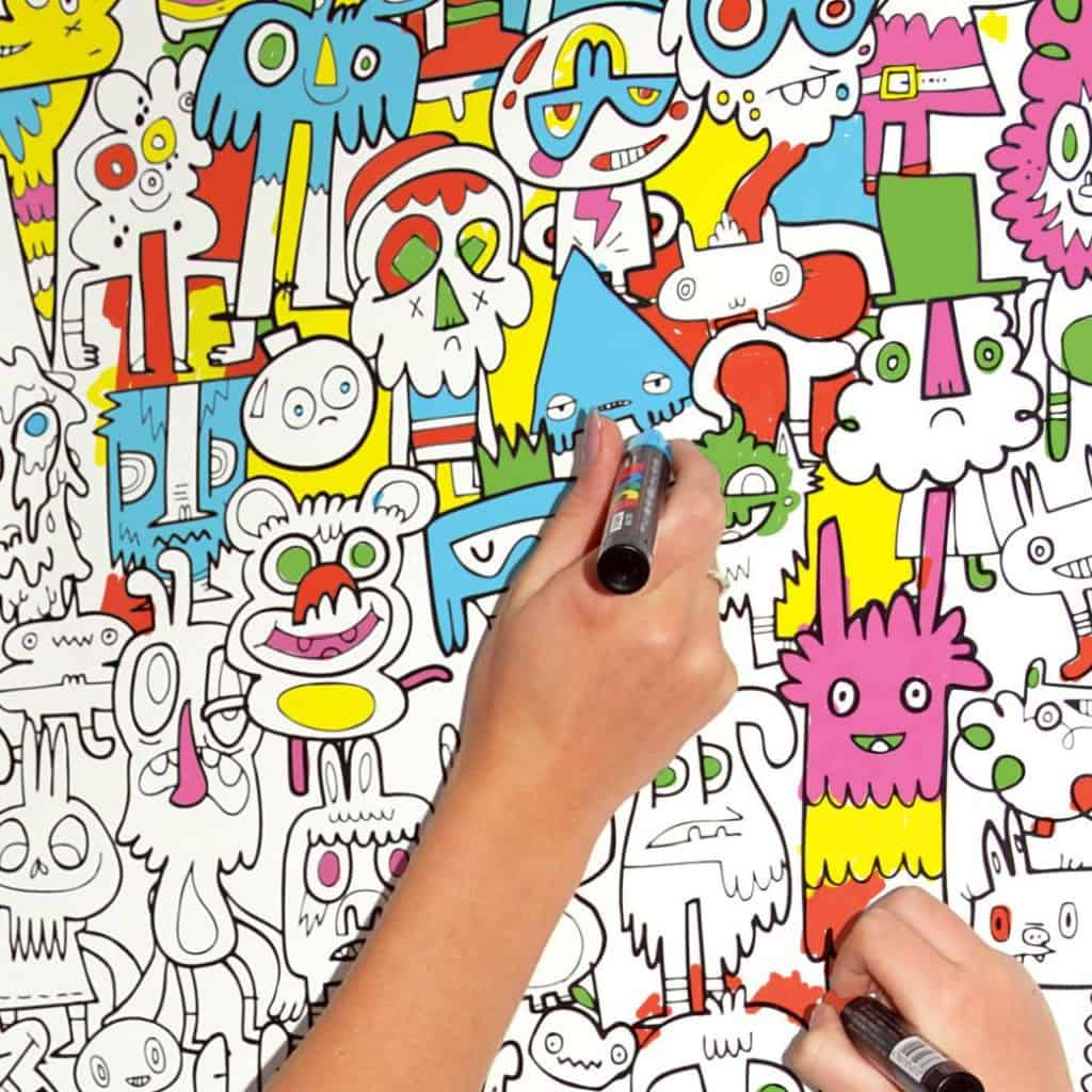 colouring in wallpaper burger