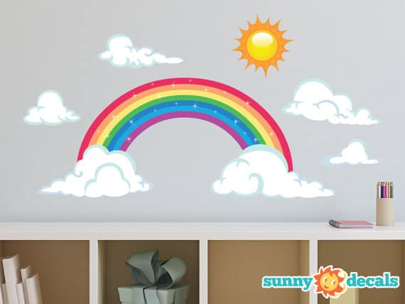 rainbow fabric wall decal
