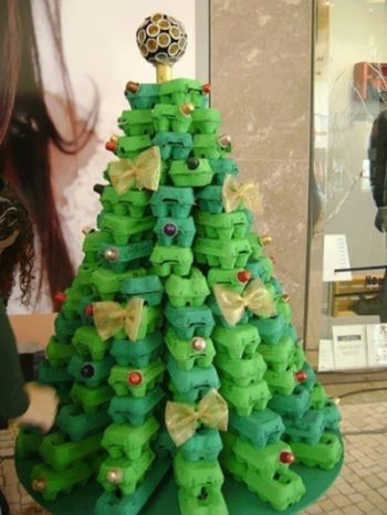 egg box christmas tree