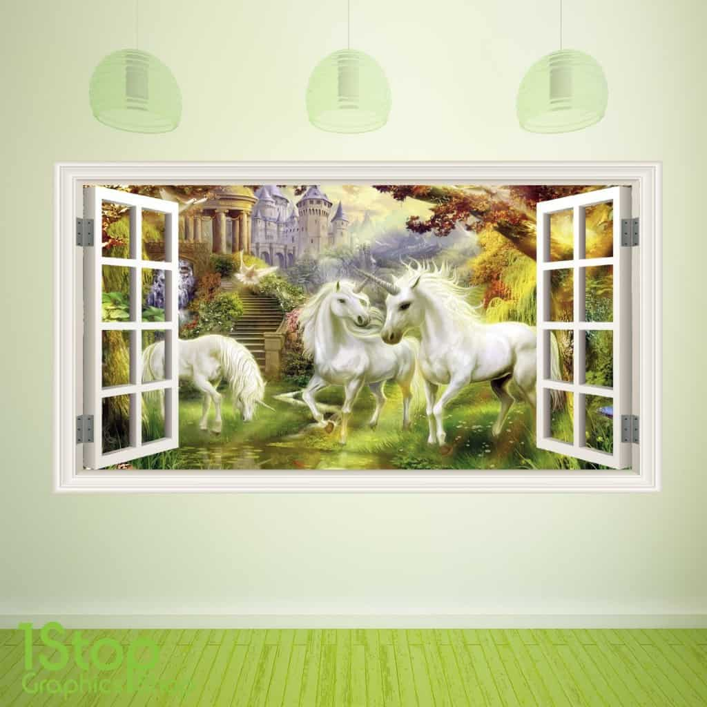 Open window unicorn wall sticker