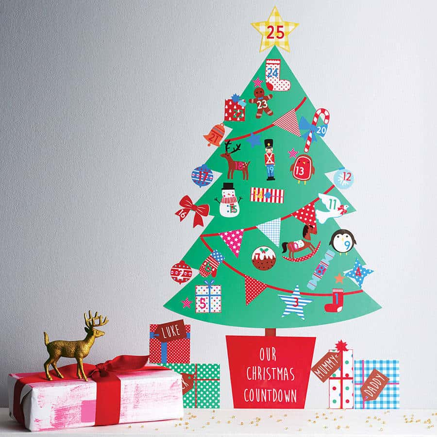 christmas wall stickers wall art kids personalised advent calendar tree wall sticker