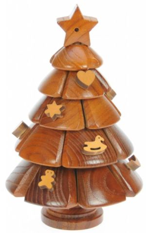mini wooden christmas tree puzzle