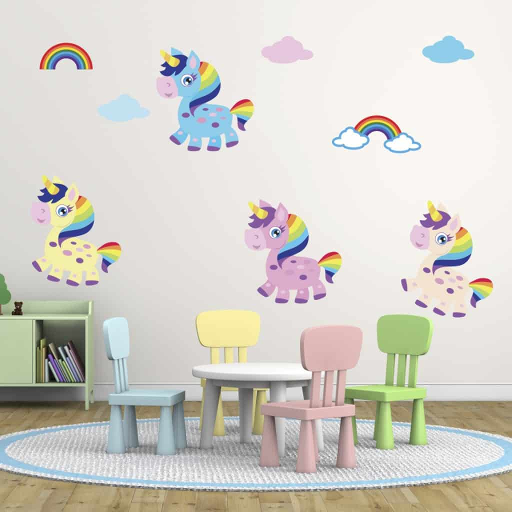 unicorn colourful wall sticker