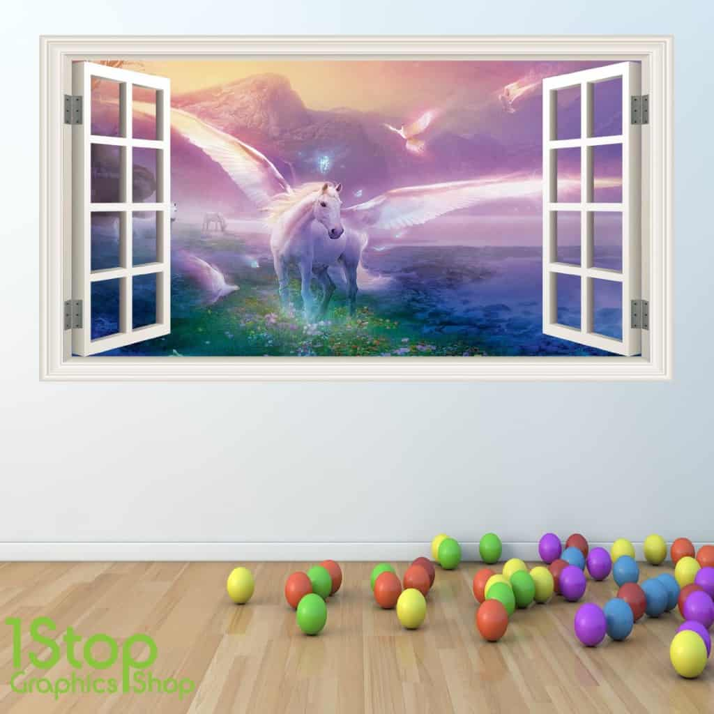 unicorn open window wall sticker