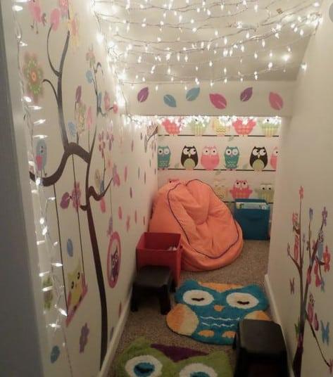 twinkle lights owl room
