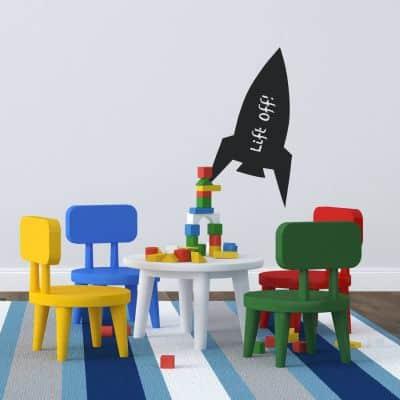 chalkboard rocket wall sticker