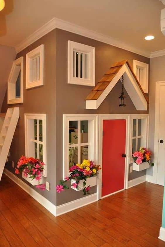 mini house in playroom