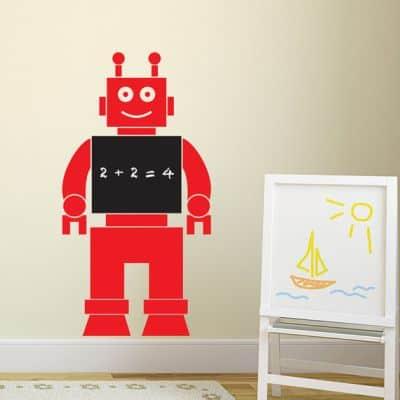 robot chalkboard wall sticker
