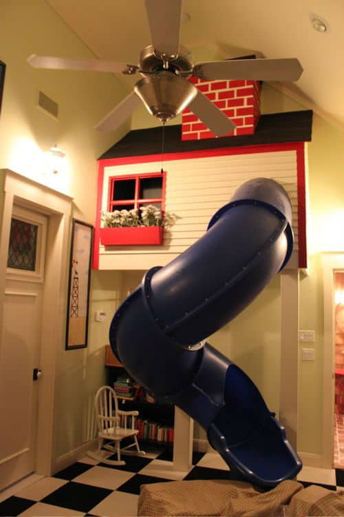 indoo play slide, amazing play room