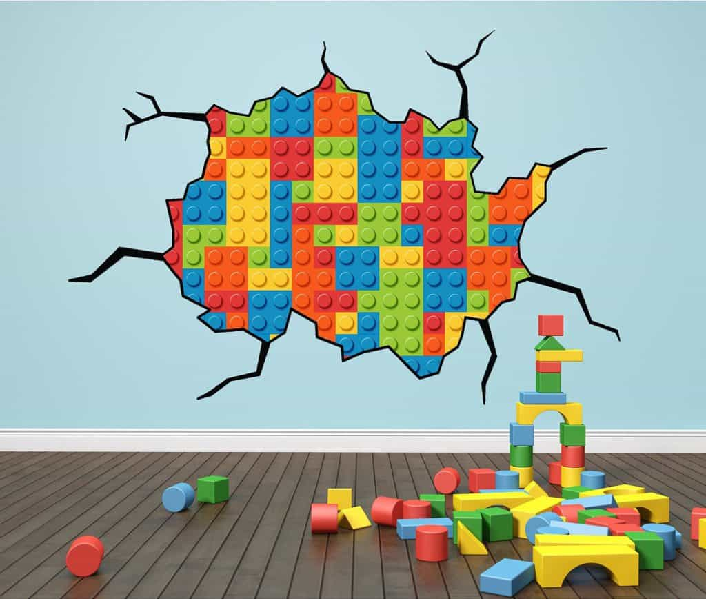 lego cracked wall sticker