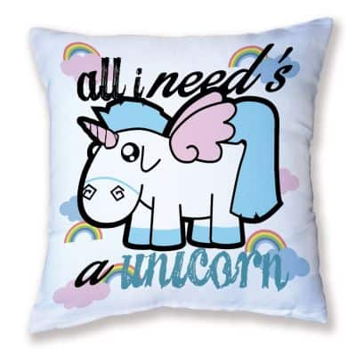 """all I need's a unicorn,"" pillow."