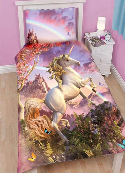 unicorn duvet cover, magical bedset.