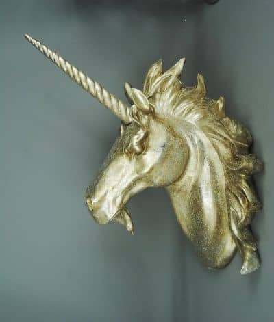 unicorn trophy head gold