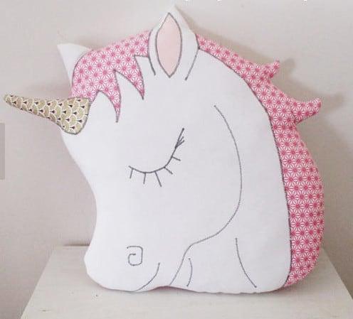 unicorn head pillow, homemade.