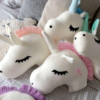 unicorn head pillows cushions