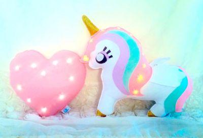 unicorn light pillow, cute kids unicorn sparkle light pillow.