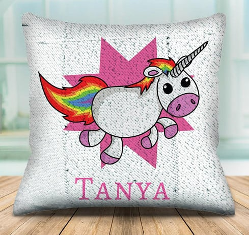 unicorn pillow, with sequins.