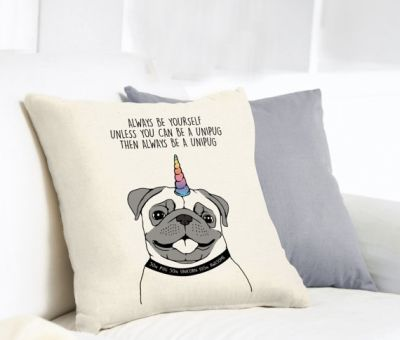 Funny Unicorn pug cushion.