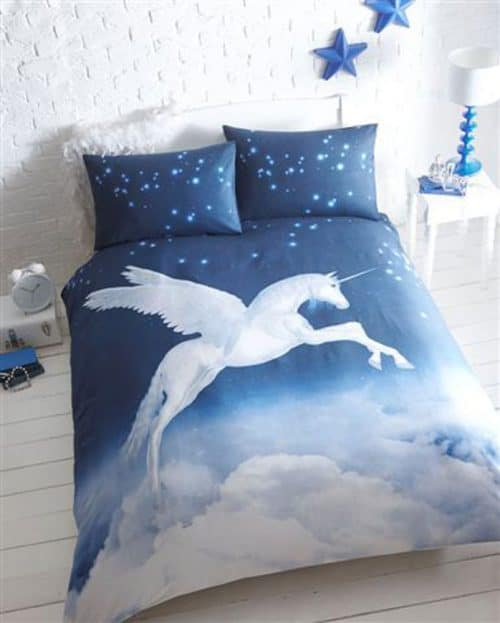 unicorn duvet cover blue, unicorn bed set.