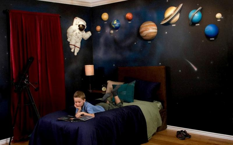 Space Themed Bedroom Ideas Wall Art Kids