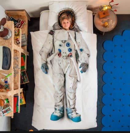 space themed bedroom with space astronaut bedding set