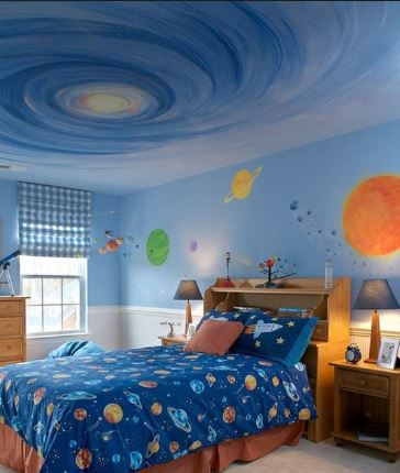 space themed bedroom, space painted
