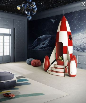 space themed bedroom, massive spaceship look