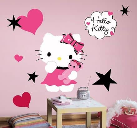 hello kitty wallsticker, Pink Hello Kitty decal.