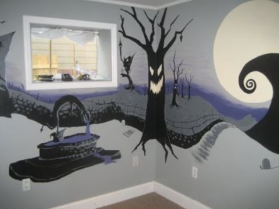 nightmare before christmas painted mural