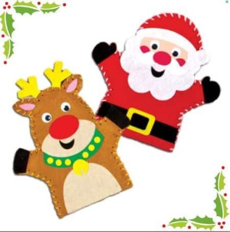 santa reindeer puppets