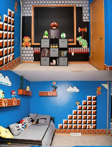mario bros themed room.