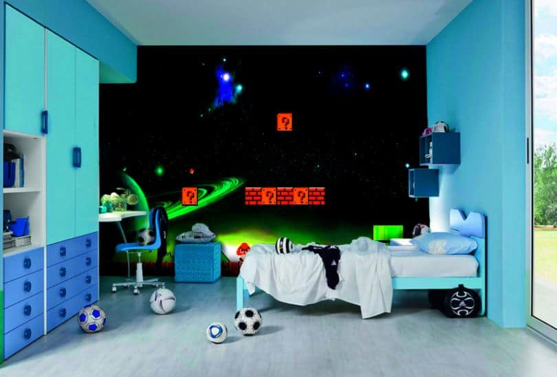 mario bros murial, for mario bros themed bedroom.