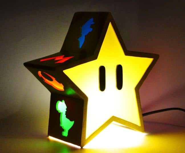 mario bros star light, from etsy.  Great for mario bros themed bedroom.