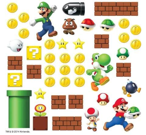 Mario Wall Stickers for Mario Bros Theme Room!