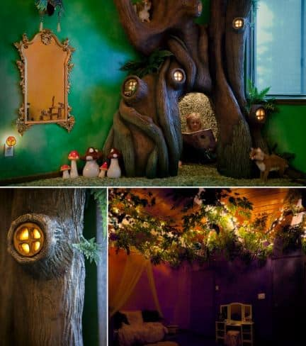Woodland Fairy Bedroom, magical bedroom with girl reading in tree.