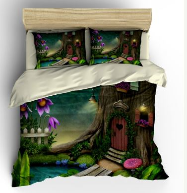 Cute fairy bed set, woodland duvet set.