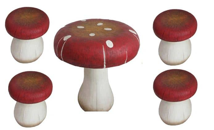Mini kids toadstool table and chairs for fairy bedroom