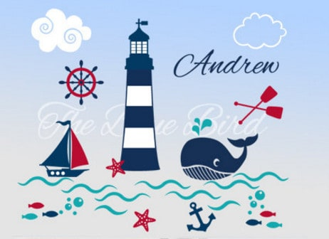 nautical personalized wall stickers